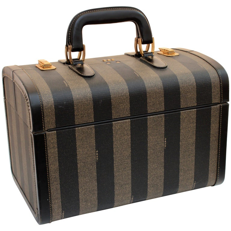 675e225156c7 Fendi Vintage Train Case Carry On Bag Pequin Stripe Canvas Leather Travel  For Sale