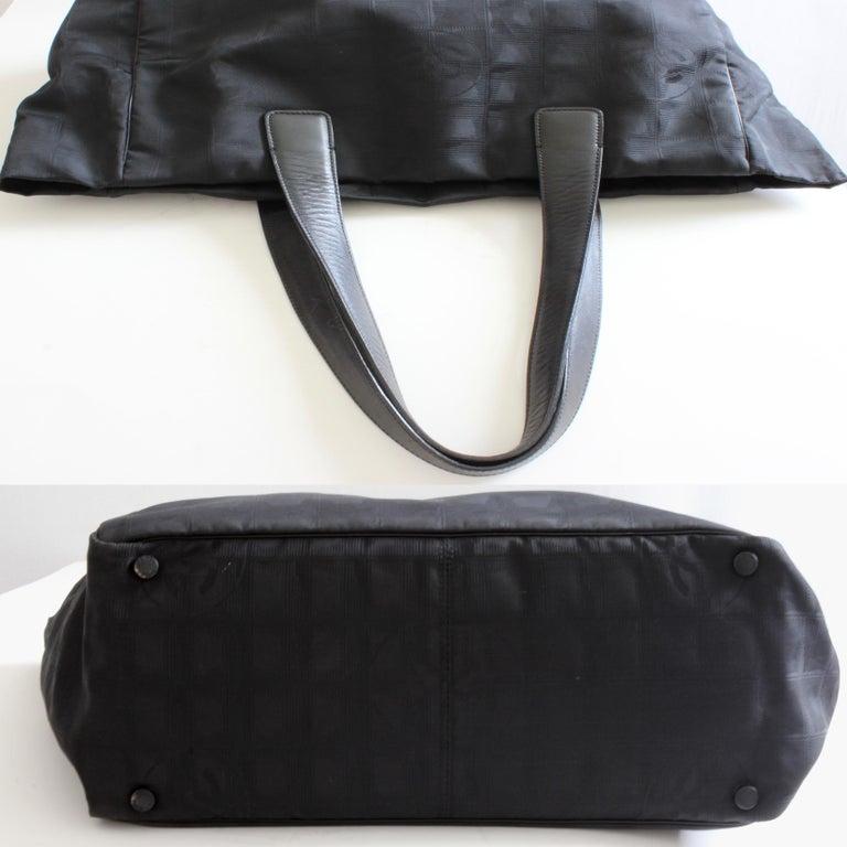 da4d9a5e0c2a Chanel Travel Line Black Jacquard CC Logo Canvas Leather Handles Tote Bag,  2001 For Sale