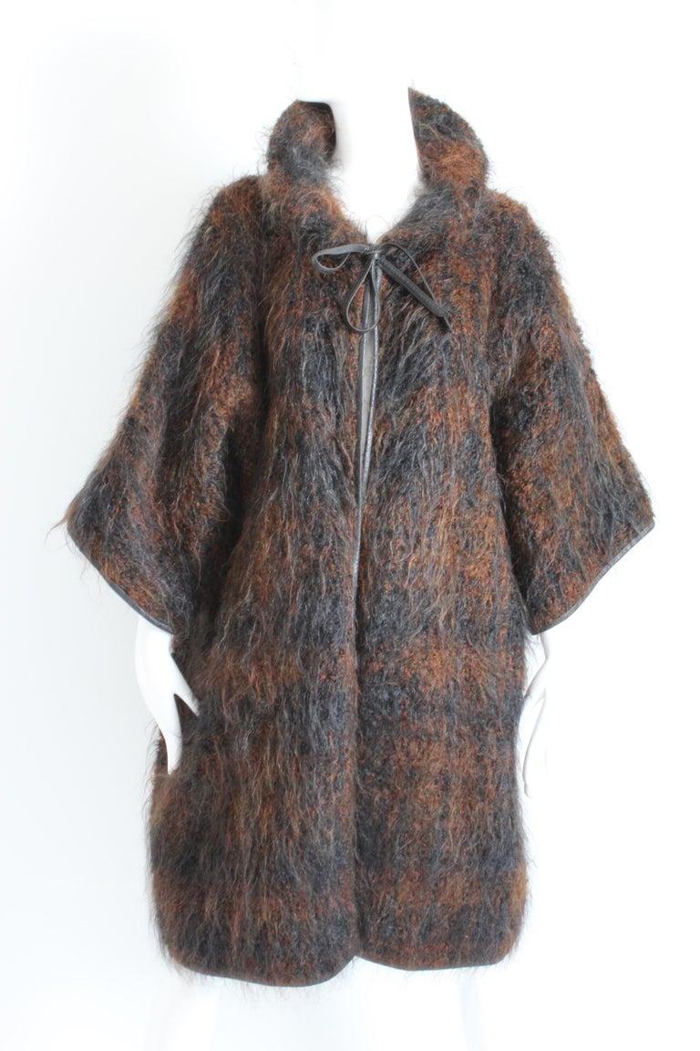 1e30ce5d6c2a2 Black Rare Bonnie Cashin Boucle Mohair Coat Leather Trim NOH Style Museum  Piece OS For Sale