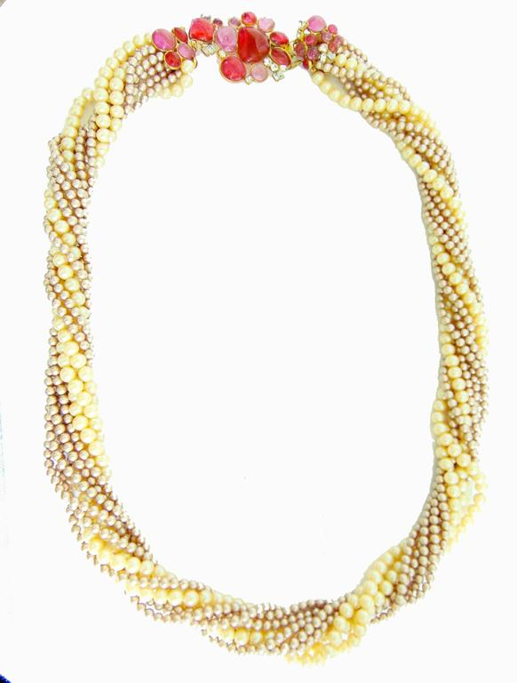 Goossens for Chanel Multi-strand Pearl & Pâte de verre Camellia Necklace 1970s  4