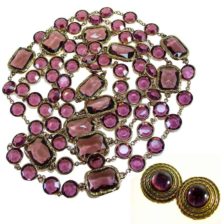 Chanel Amethyst Sautoir Necklace with Matching Earrings Set 1981 2