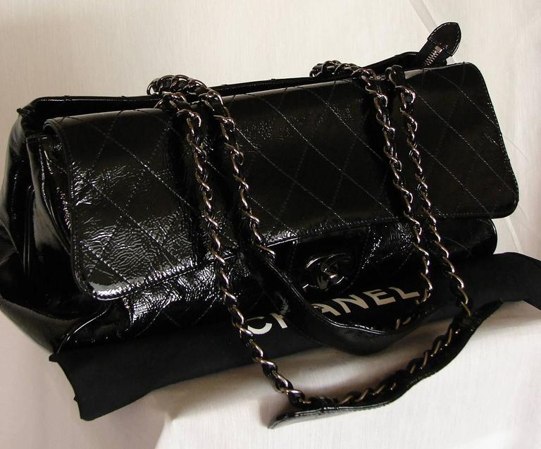 '2005 Chanel Ritz Bag Clutch Black Patent Leather Removable Silver Chain Straps  2