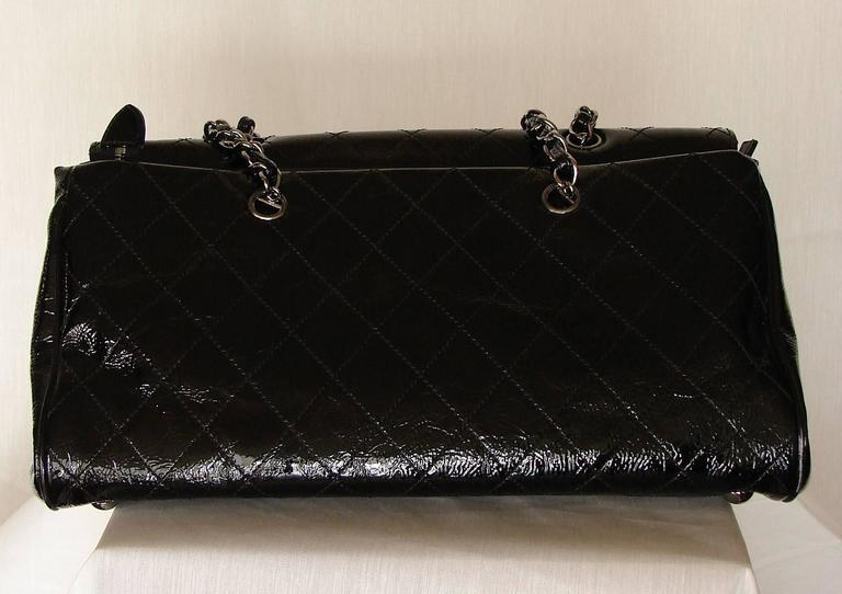 '2005 Chanel Ritz Bag Clutch Black Patent Leather Removable Silver Chain Straps  7