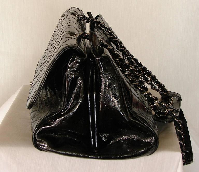 '2005 Chanel Ritz Bag Clutch Black Patent Leather Removable Silver Chain Straps  4
