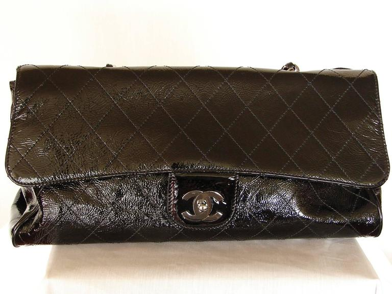 '2005 Chanel Ritz Bag Clutch Black Patent Leather Removable Silver Chain Straps  6