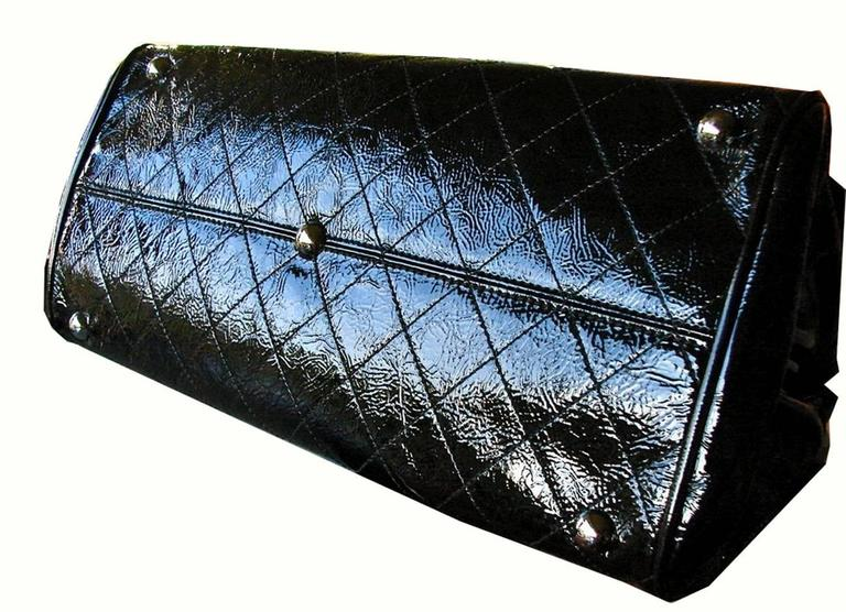 '2005 Chanel Ritz Bag Clutch Black Patent Leather Removable Silver Chain Straps  8