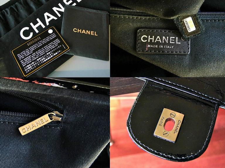 '2005 Chanel Ritz Bag Clutch Black Patent Leather Removable Silver Chain Straps  10