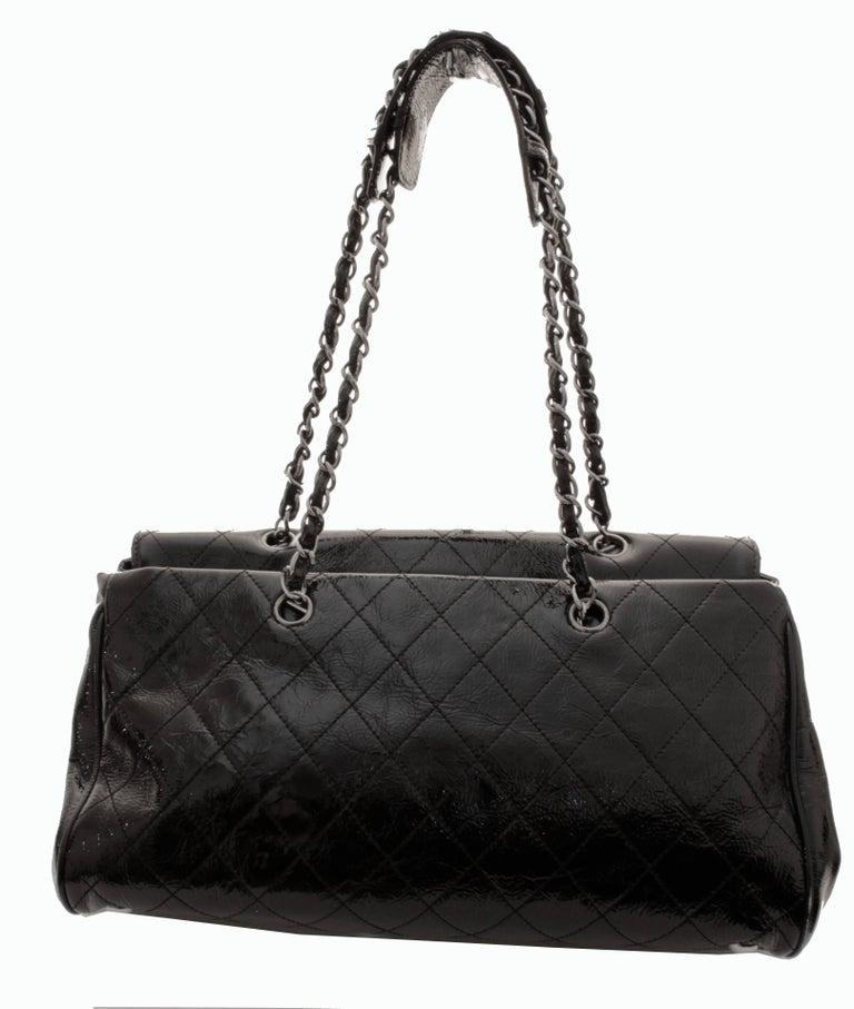 Chanel Ritz Shoulder Bag Convertible Clutch Black Matelasse Patent Leather  For Sale 2