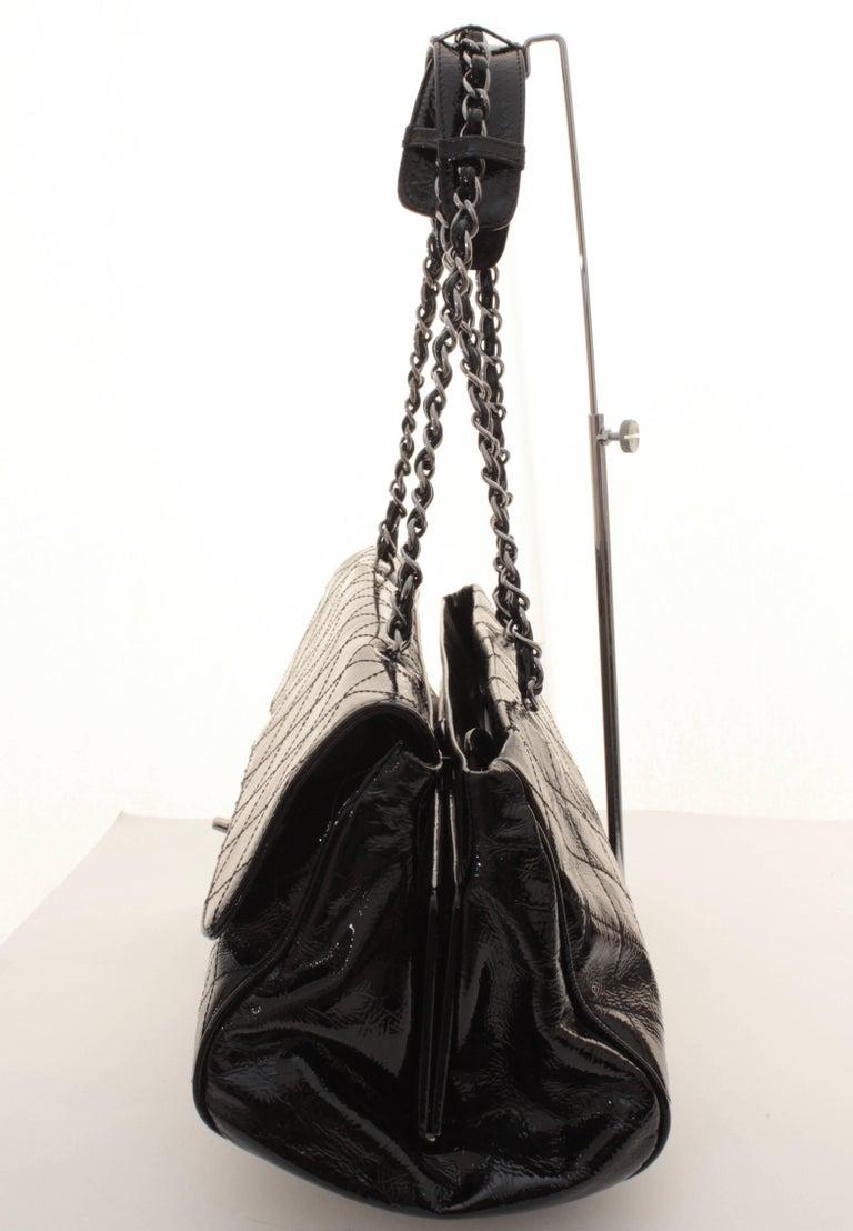 Chanel Ritz Shoulder Bag Convertible Clutch Black Matelasse Patent Leather  For Sale 1