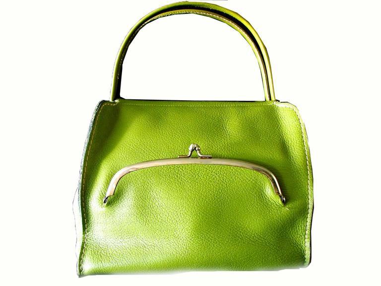 Bonnie Cashin for Coach Mod Lime Green Kiss Lock Tote Bag 1960s  3
