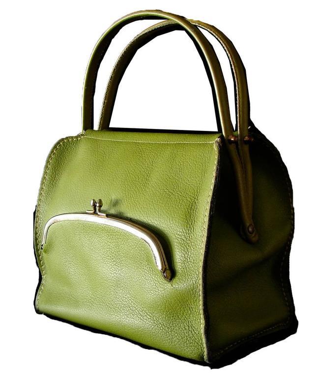 Bonnie Cashin for Coach Mod Lime Green Kiss Lock Tote Bag 1960s  2