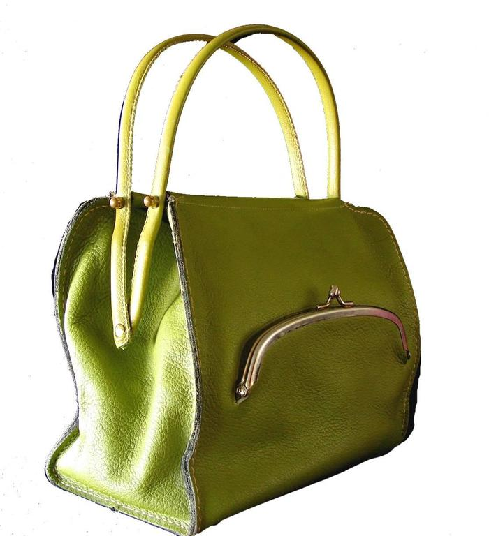 Bonnie Cashin for Coach Mod Lime Green Kiss Lock Tote Bag 1960s  4