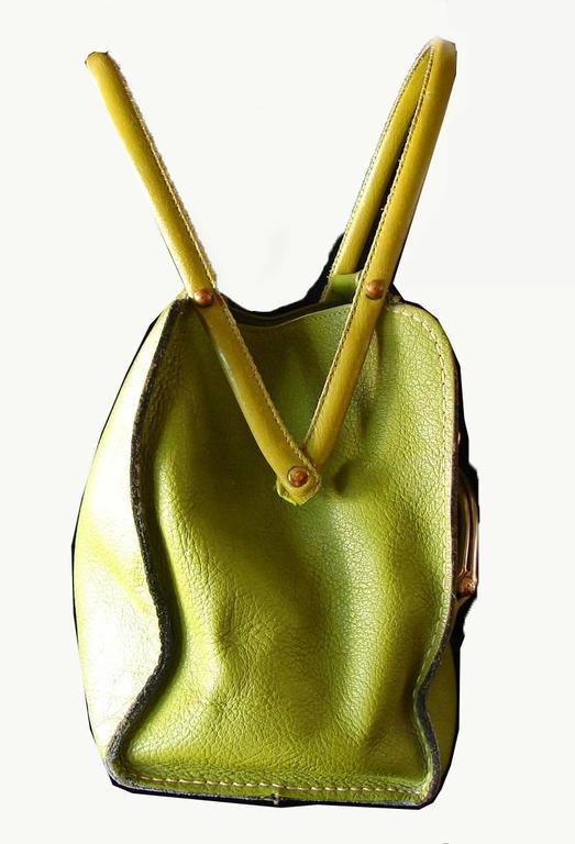 Bonnie Cashin for Coach Mod Lime Green Kiss Lock Tote Bag 1960s  5