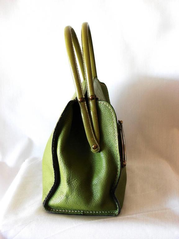 Bonnie Cashin for Coach Mod Lime Green Kiss Lock Tote Bag 1960s  7