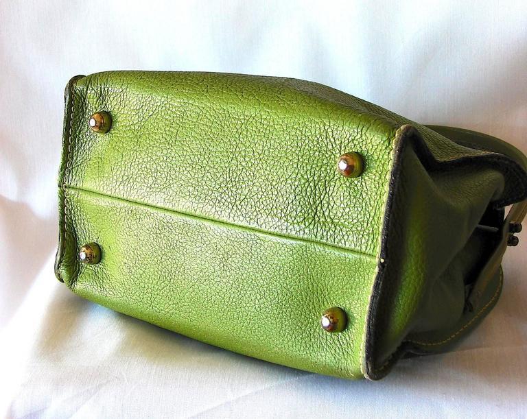 Bonnie Cashin for Coach Mod Lime Green Kiss Lock Tote Bag 1960s  8