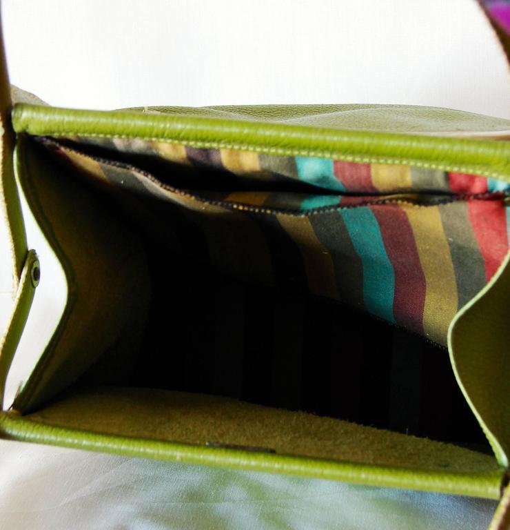 Bonnie Cashin for Coach Mod Lime Green Kiss Lock Tote Bag 1960s  9