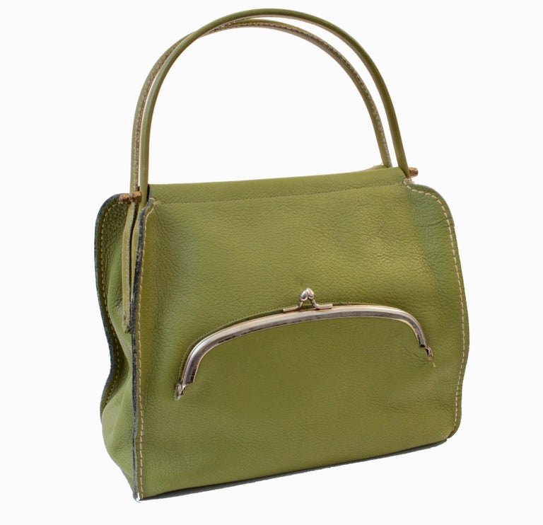 Brown Bonnie Cashin for Coach Mod Lime Green Kiss Lock Tote Bag 1960s  For Sale