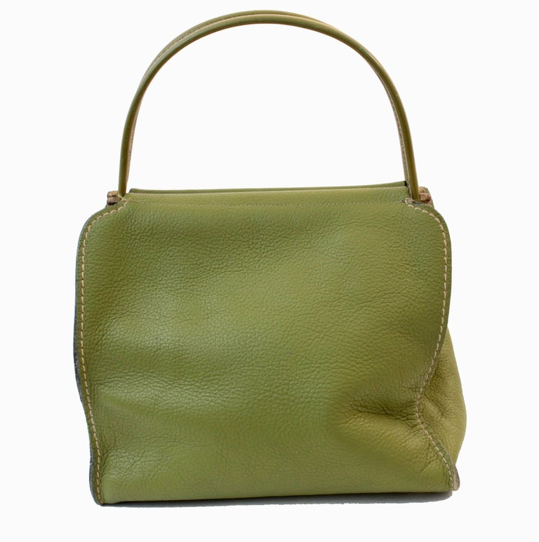 Women's Bonnie Cashin for Coach Mod Lime Green Kiss Lock Tote Bag 1960s  For Sale