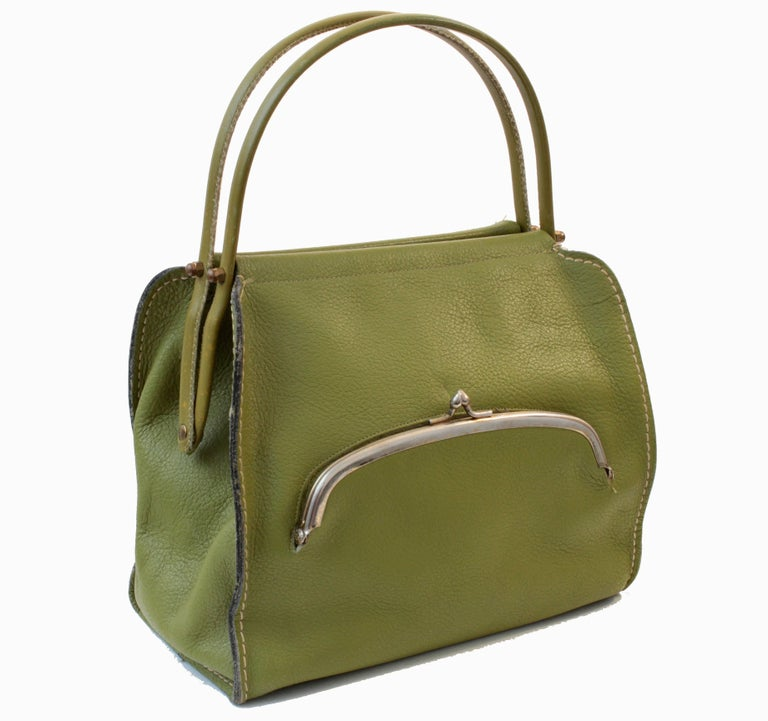 Bonnie Cashin for Coach Mod Lime Green Kiss Lock Tote Bag 1960s  For Sale