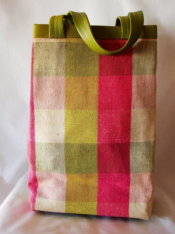 0ecf1a877641 Beige Bonnie Cashin for Coach Plaid Canvas and Lime Leather Tote Bag