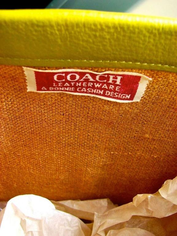 0b0914b1ad82 Bonnie Cashin for Coach Plaid Canvas and Lime Leather Tote Bag ...