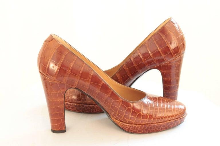 Hermes Paris Exotic Crocodile Pumps Glossy Miel Honey Tan Heels Size 38 2006  6