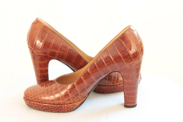 Hermes Paris Exotic Crocodile Pumps Glossy Miel Honey Tan Heels Size 38 2006  7