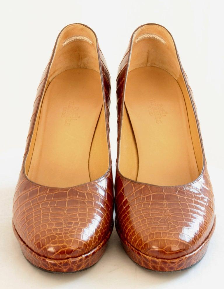 Hermes Paris Exotic Crocodile Pumps Glossy Miel Honey Tan Heels Size 38 2006  4