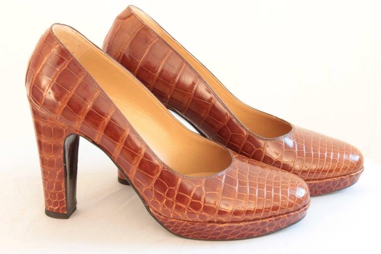 Hermes Paris Exotic Crocodile Pumps Glossy Miel Honey Tan Heels Size 38 2006  5