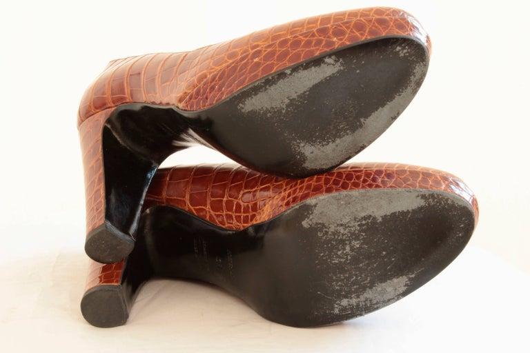 Hermes Paris Exotic Crocodile Pumps Glossy Miel Honey Tan Heels Size 38 2006  9
