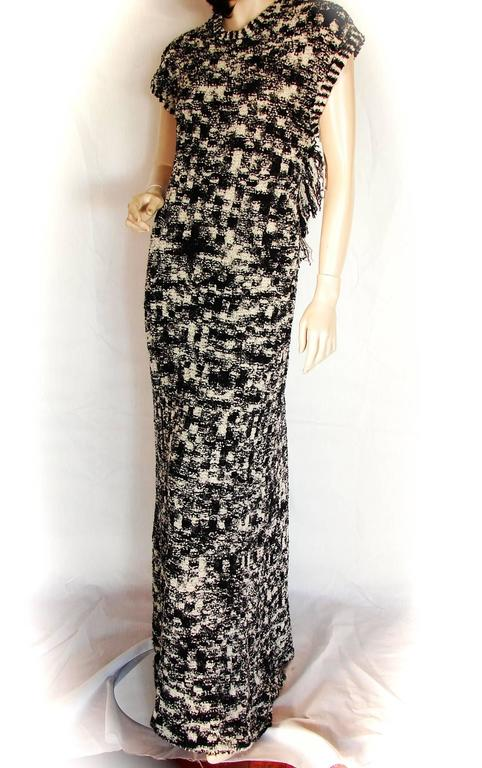 Chanel Knit Evening Gown Scandinavian Fringe With Open Back Sz 42 New Tags 11A 4