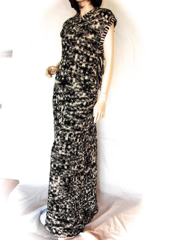 Chanel 11A Evening Dress Gown Scandinavian Fringe Knit Open Back Sz 42 New Tags  8