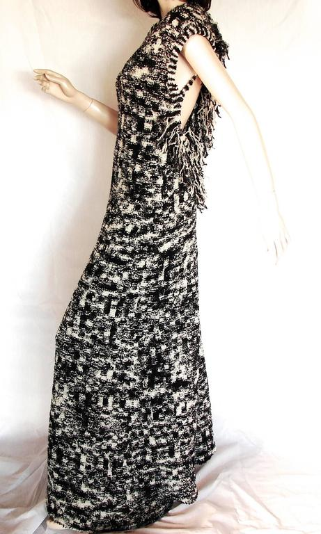 Chanel 11A Evening Dress Gown Scandinavian Fringe Knit Open Back Sz 42 New Tags  2