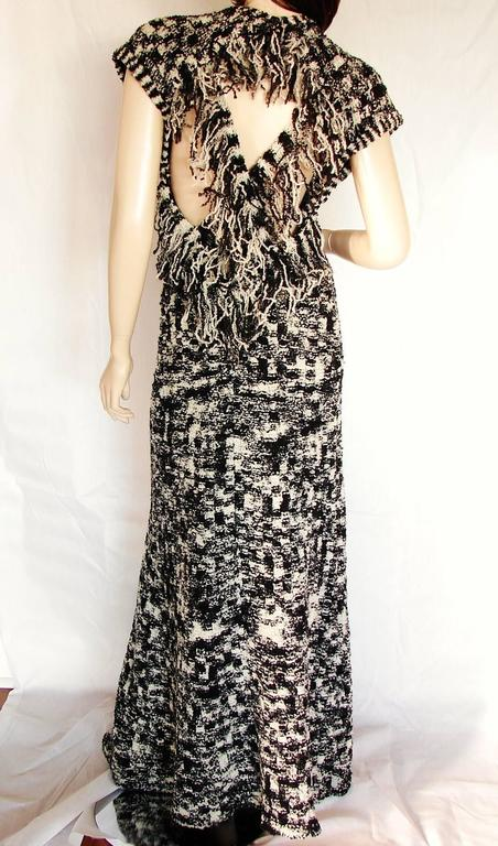 Chanel 11A Evening Dress Gown Scandinavian Fringe Knit Open Back Sz 42 New Tags  3