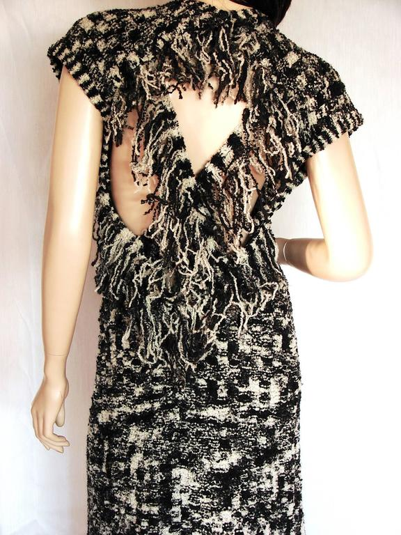 Chanel 11A Evening Dress Gown Scandinavian Fringe Knit Open Back Sz 42 New Tags  7