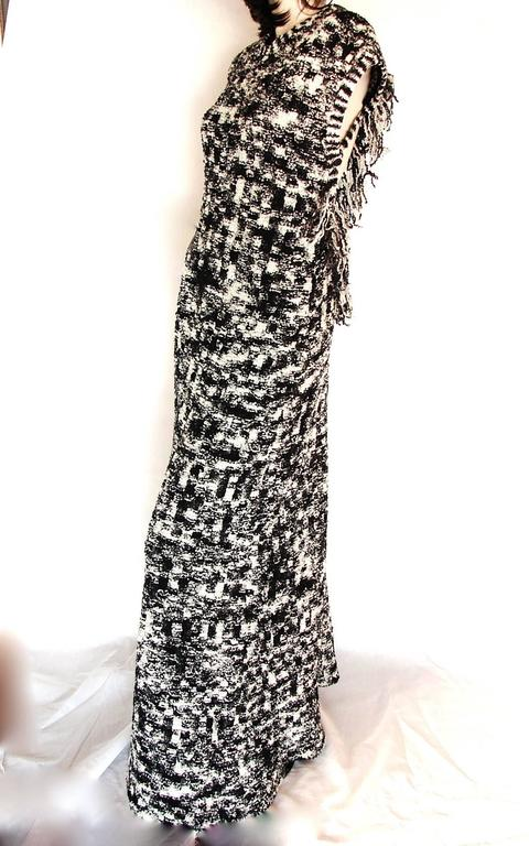 Chanel Knit Evening Gown Scandinavian Fringe With Open Back Sz 42 New Tags 11A 6