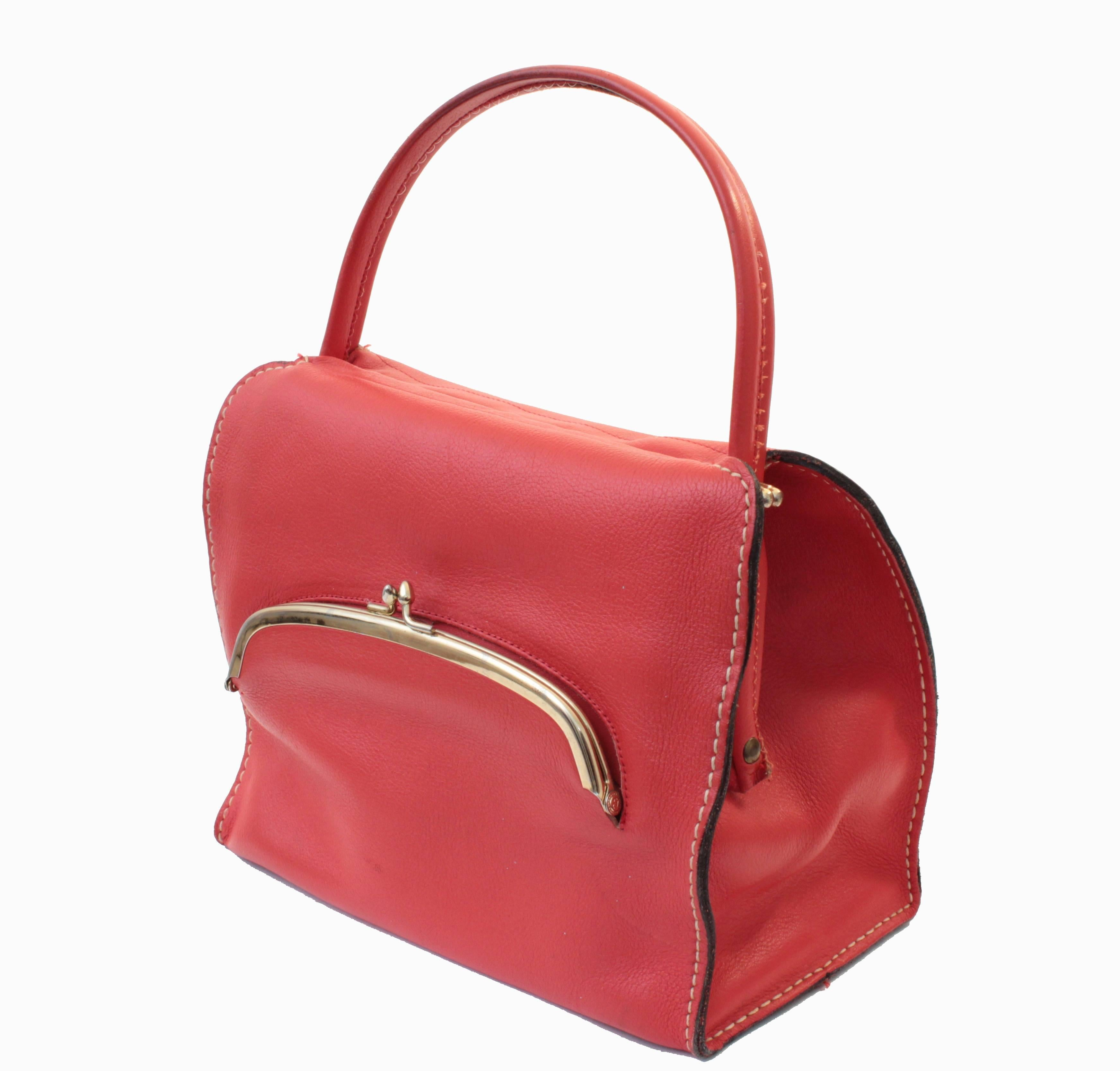 f96e0d88547 Bonnie Cashin Red Leather Tote Bag with Kiss Lock Purse NYC 1960s Rare For  Sale at 1stdibs