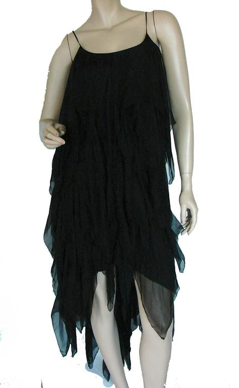 Chanel Black Silk Flapper Style Formal Cocktail Dress 1978 Pret-a-Porter Sz 6  2