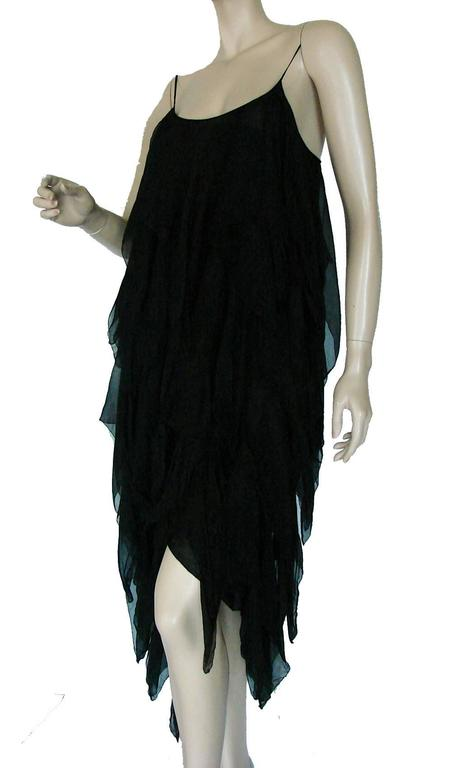 Chanel Black Silk Flapper Style Formal Cocktail Dress 1978 Pret-a-Porter Sz 6  3