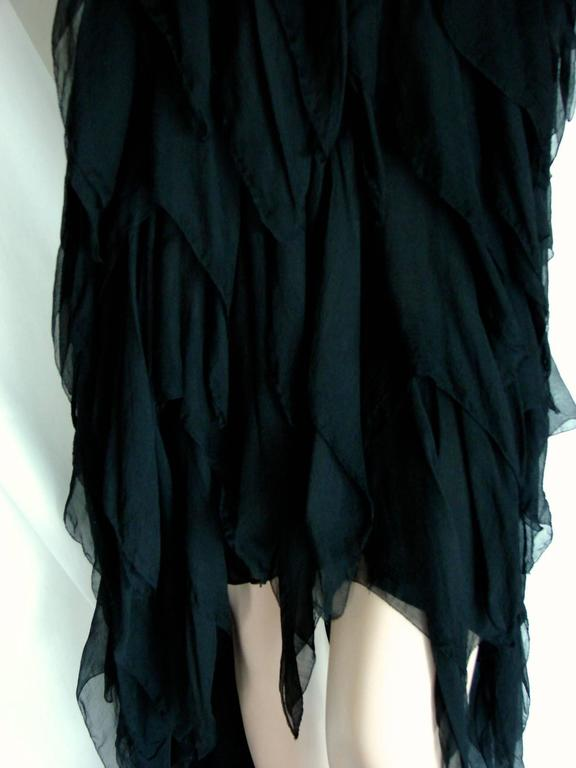 Chanel Black Silk Flapper Style Formal Cocktail Dress 1978 Pret-a-Porter Sz 6  7