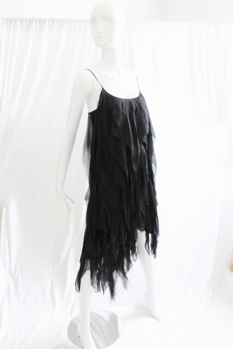 Chanel Dress Layered Black Silk Chiffon Flapper Style Cocktail Size 6 Rare 1970s For Sale 2