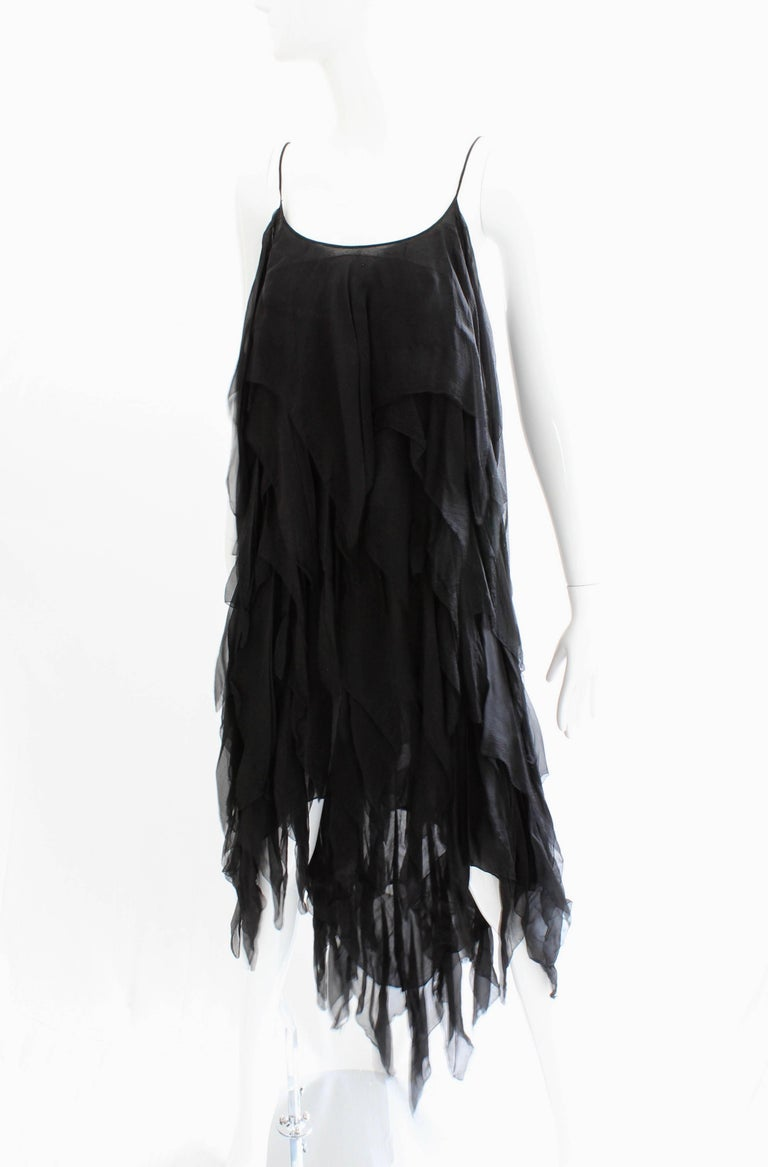 Women's Chanel Dress Layered Black Silk Chiffon Flapper Style Cocktail Size 6 Rare 1970s For Sale