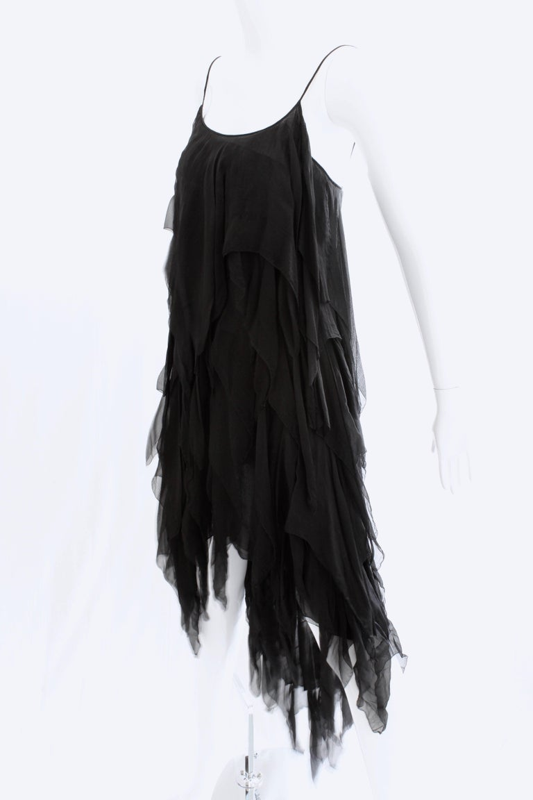 Chanel Dress Layered Black Silk Chiffon Flapper Style Cocktail Size 6 Rare 1970s For Sale 1