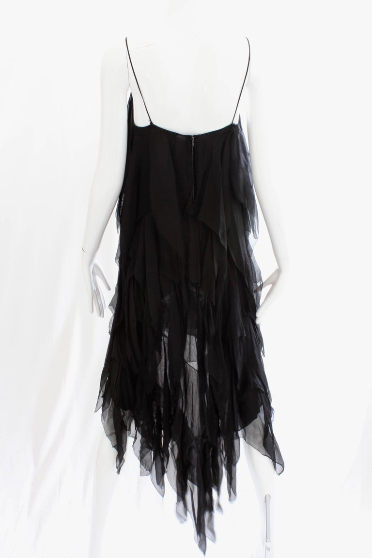 Chanel Dress Layered Black Silk Chiffon Flapper Style Cocktail Size 6 Rare 1970s For Sale 4