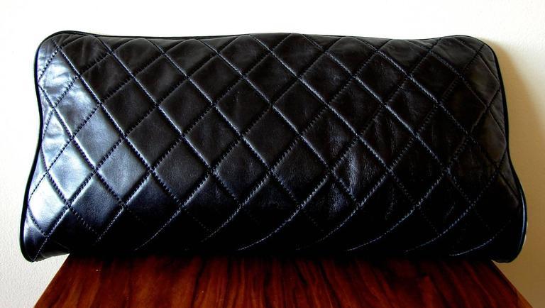 d22782252697 Chanel Black Lambskin Matelassé Clutch White Trim + Chain Coin Purse 2009 +  Box In Excellent