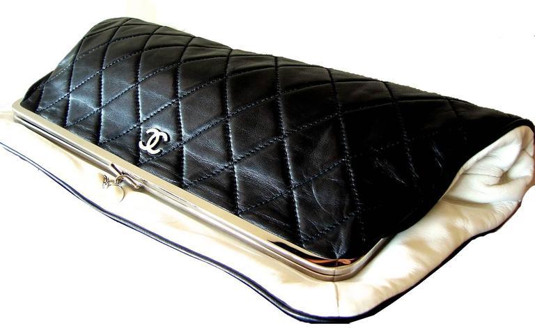a4a5e68ab64a Chanel Black Lambskin Matelassé Clutch White Trim + Chain Coin Purse 2009 +  Box For Sale