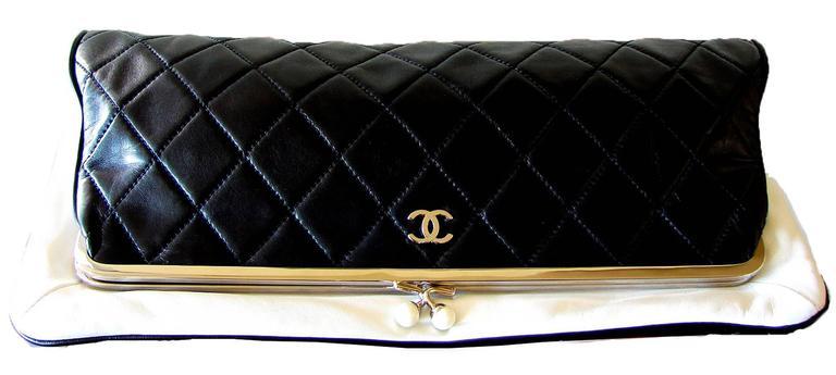 f8010773ae8d Women's Chanel Black Lambskin Matelassé Clutch White Trim + Chain Coin  Purse 2009 + Box For