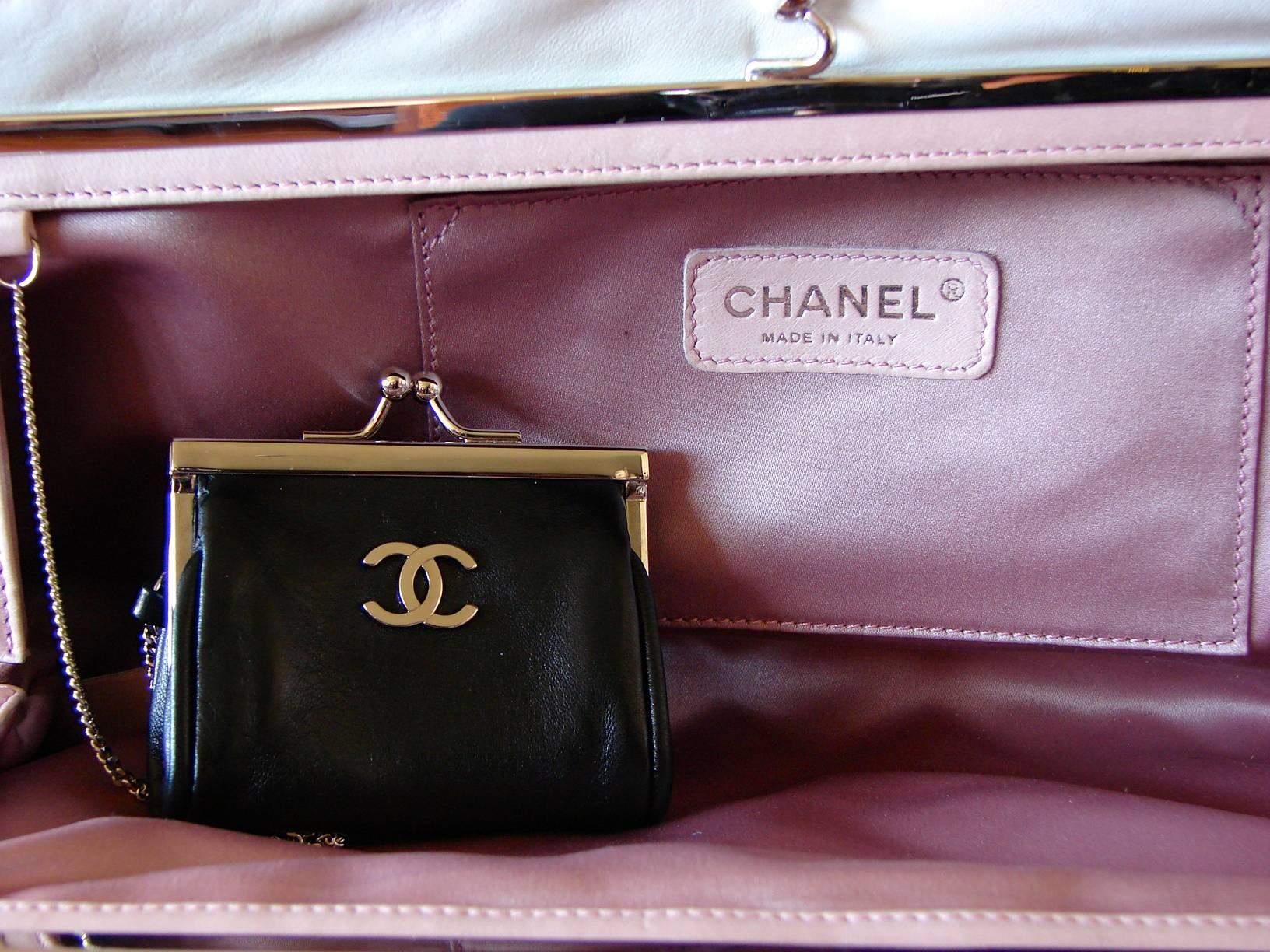 54ad16fe3cf5 Chanel Black Lambskin Matelassé Clutch White Trim + Chain Coin Purse 2009 +  Box at 1stdibs