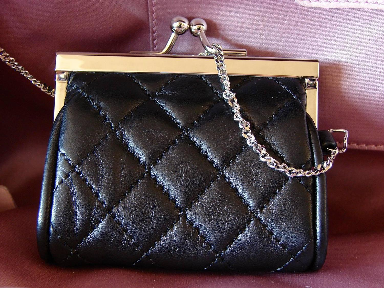 Chanel Black Lambskin Matelass 233 Clutch White Trim Chain