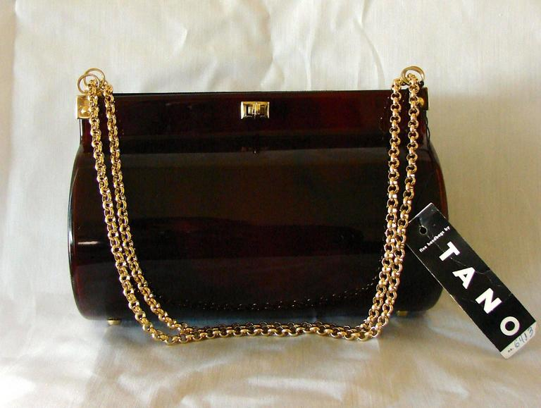 Black Retro Tano of Madrid Tortoise Lucite Handbag Purse 1950s New Deadstock Tags  For Sale